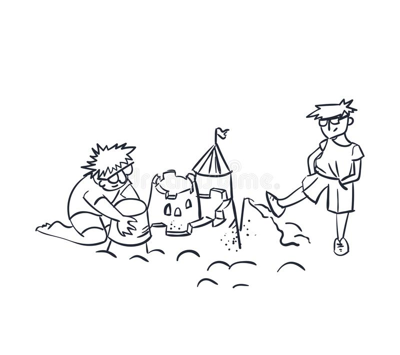 Schiacciamento del castello della sabbia dell'illustrazione di vettore di concetto del tester e del progettista, invidia, concett illustrazione vettoriale