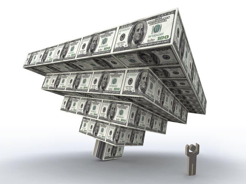 Schiacciamento finanziario della piramide illustrazione vettoriale