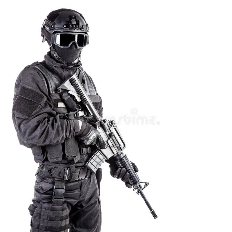 SCHIAFFO dell'ufficiale di polizia dei ops di spec. fotografia stock