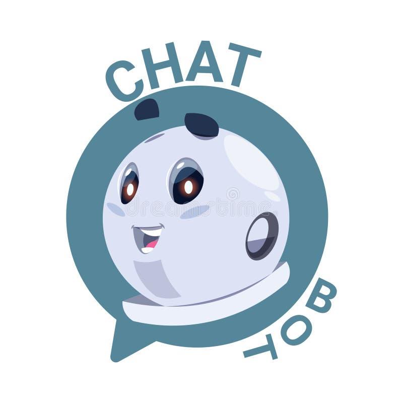 Schiamazzo sveglio del robot dell'icona del Bot di chiacchierata o concetto virtuale di servizio del supporto tecnico di Chatterb illustrazione vettoriale