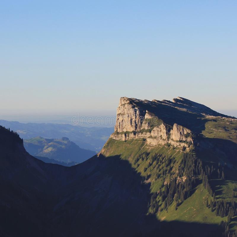 Schibe, mountain seen from Mount Niederhorn, Bernese Oberland. S. Witzerland. Justis Valley royalty free stock photos