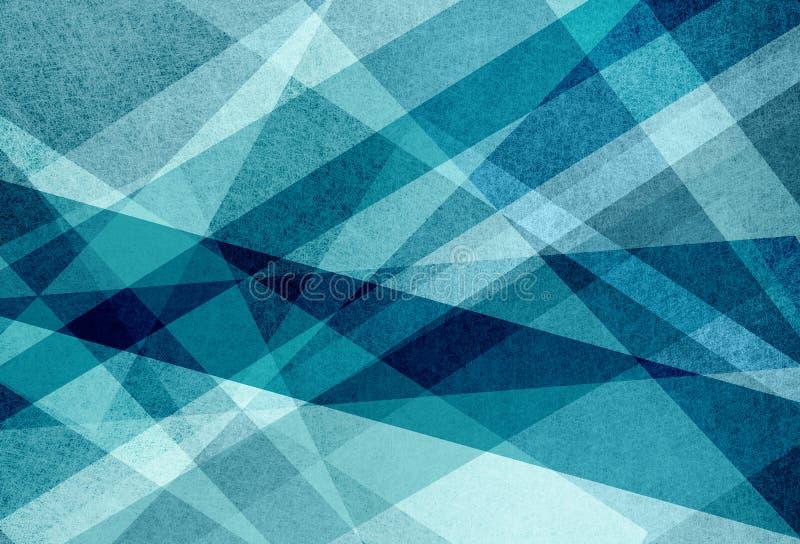 Schichten des blauen Grüns und des Weiß im abstrakten Hintergrundmuster mit Linien Dreiecke und Streifen im geometrischen Design stock abbildung