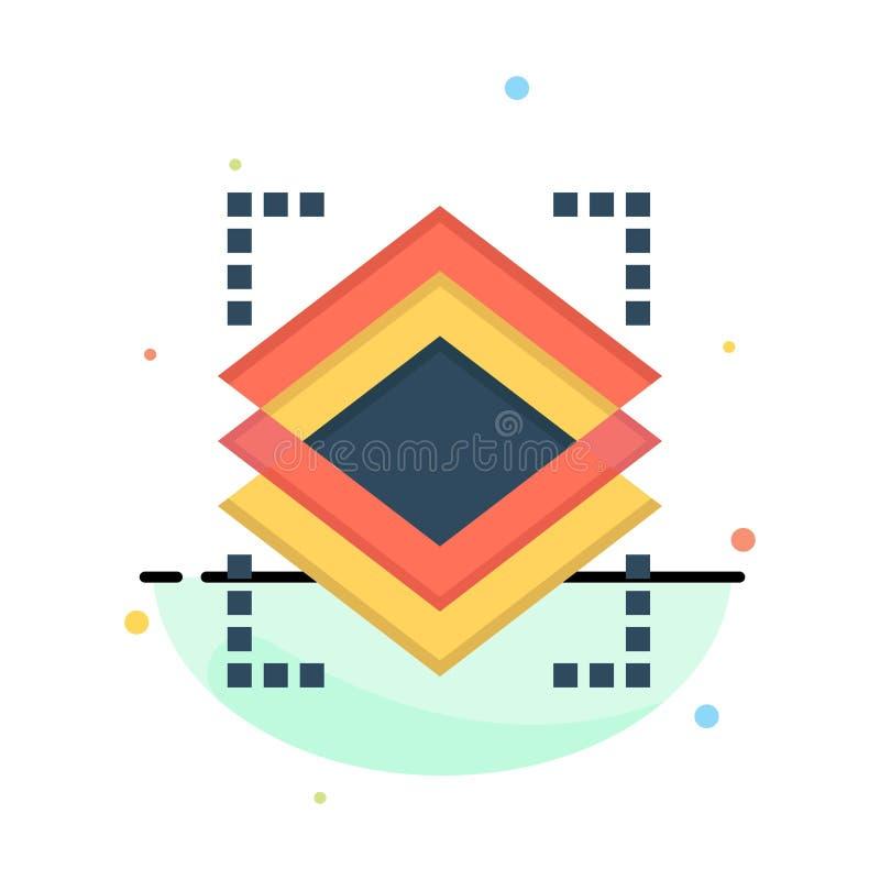 Schichten, Gegenstand, Schicht, Server-Zusammenfassungs-flache Farbikonen-Schablone stock abbildung