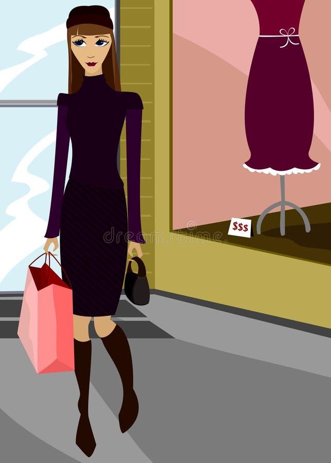 Schickes Einkaufen stock abbildung