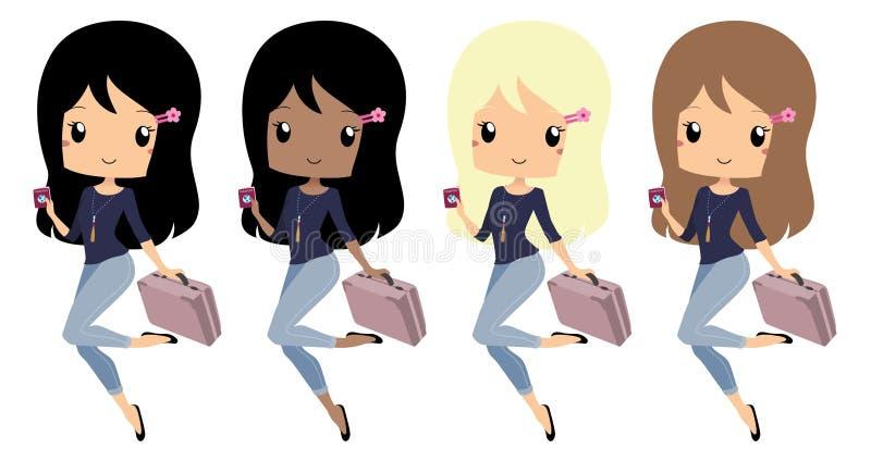 Schickes Mädchen bereit zum Reisen mit einem Koffer und einem Pass stock abbildung