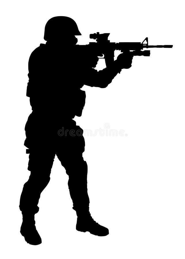 Schießen mit Gewehr FLIEGENKLATSCHE-Offizier-Vektorschattenbild vektor abbildung