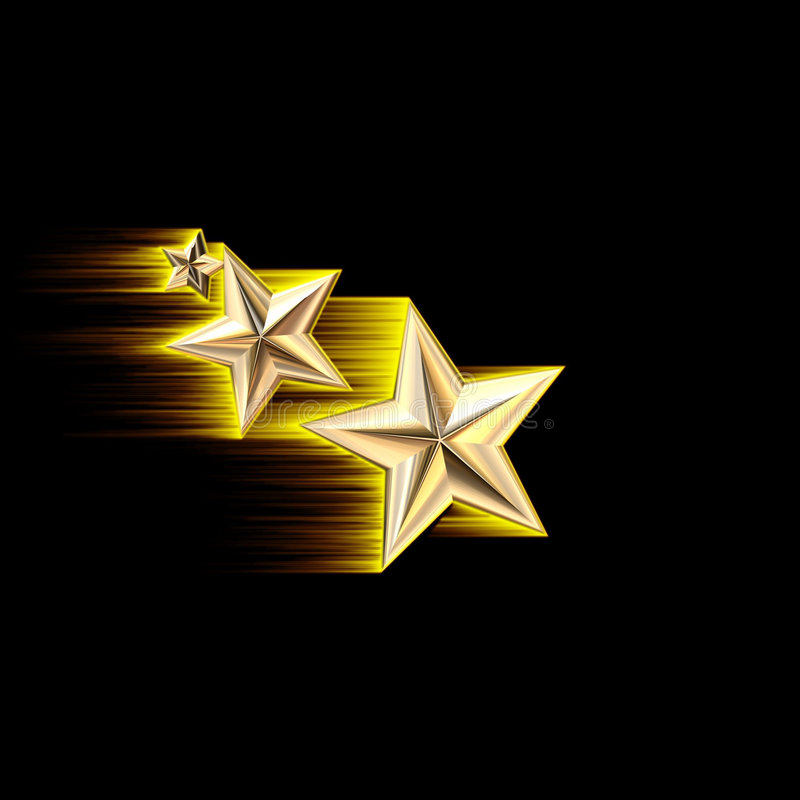 Schießen-Sterne des Gold3d stock abbildung