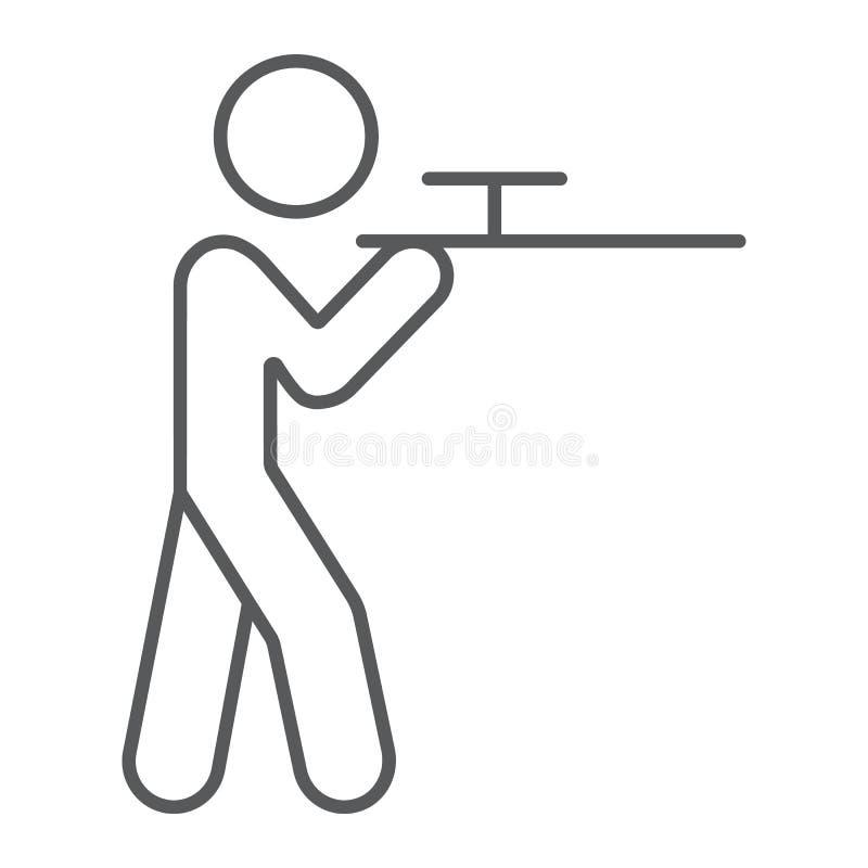 Schießende dünne Linie Ikone, Jagd und Schrotflinte, Mann mit Rifflezeichen, Vektorgrafik, ein lineares Muster auf einem weißen stock abbildung