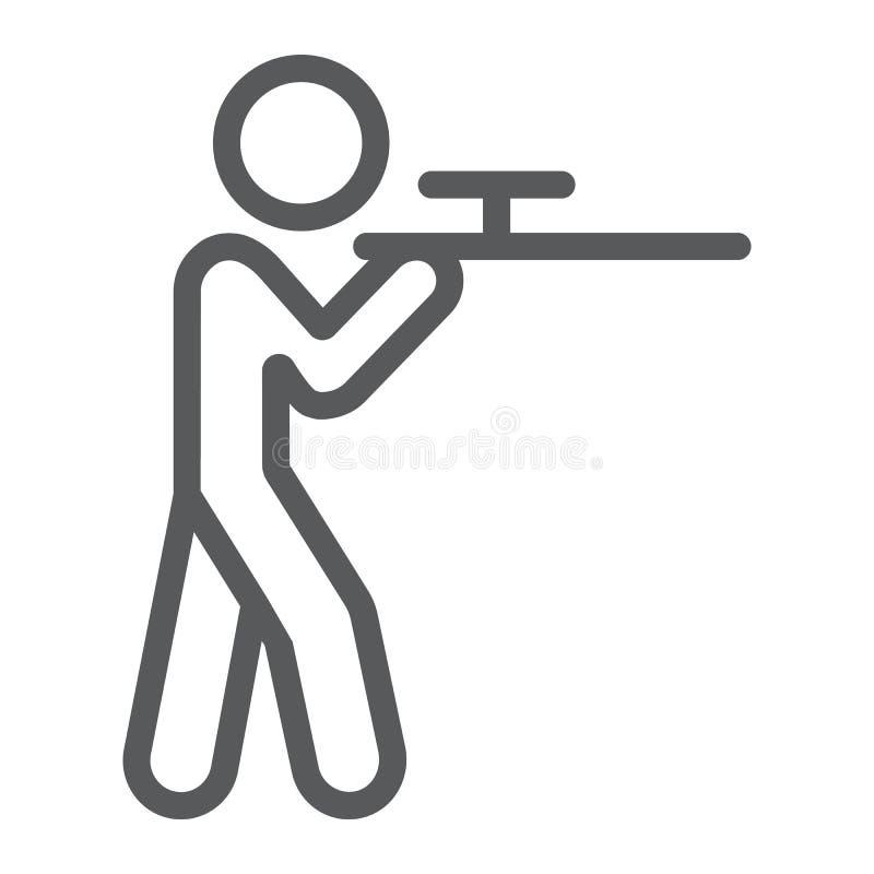 Schießende Linie Ikone, Jagd und Schrotflinte, Mann mit Rifflezeichen, Vektorgrafik, ein lineares Muster auf einem weißen Hinterg lizenzfreie abbildung