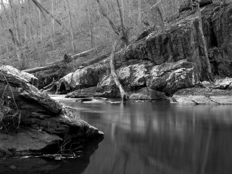 Schießpulver Fluss-Schwarz u. Weiß stockbilder