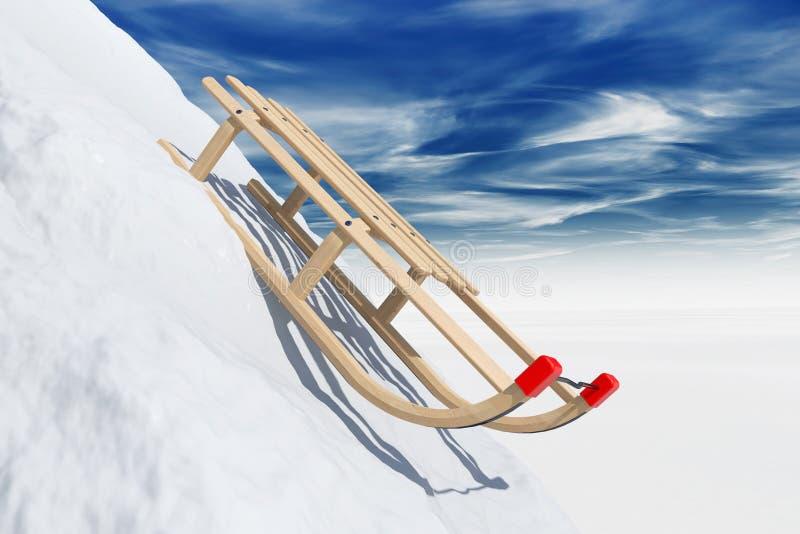 Schieben des Schlittens im Schnee stockfotos