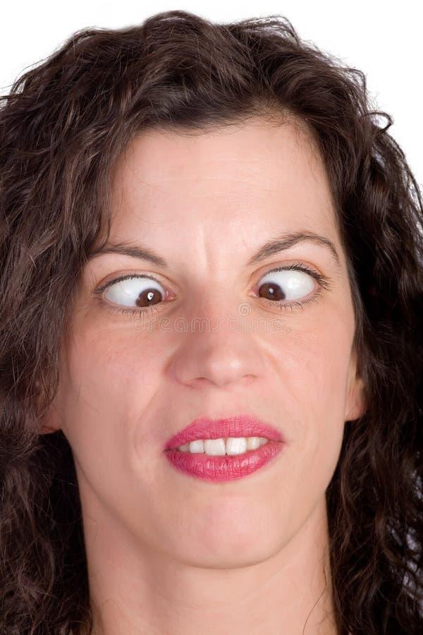 Schielende Frau stockbild. Bild von leute, frau, brunette