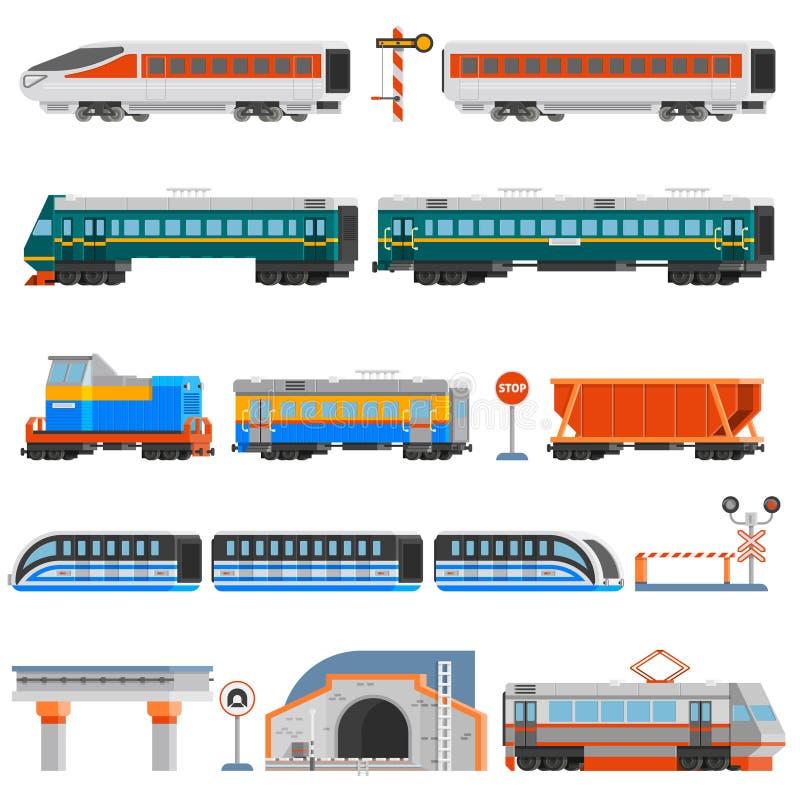 Schienenverkehr-flache bunte Ikonen eingestellt vektor abbildung