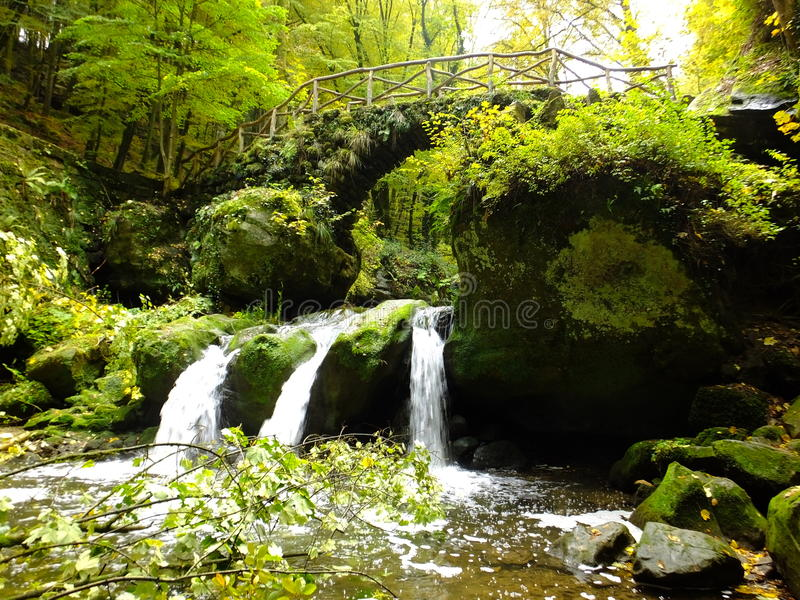 Schiessentumpel waterfall. In the region of Mullerthal in Luxembourg royalty free stock image