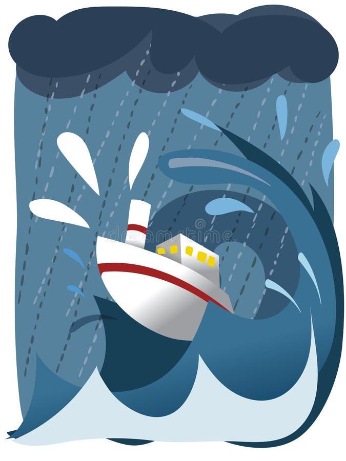 Schiff im rauen Meer vektor abbildung
