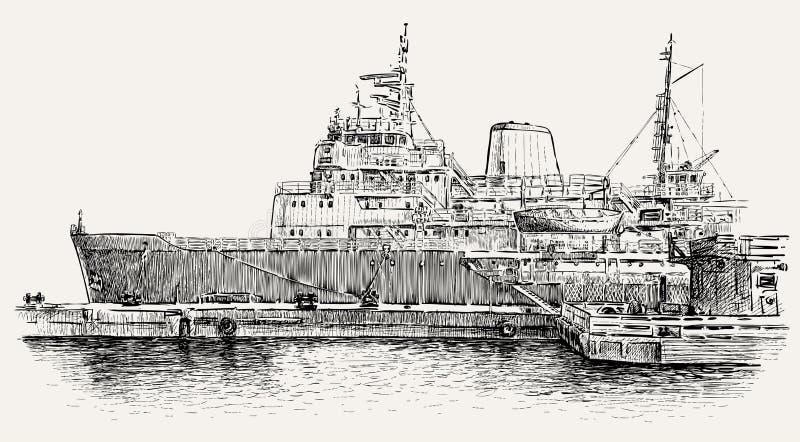 Schiff am Liegeplatz lizenzfreie abbildung