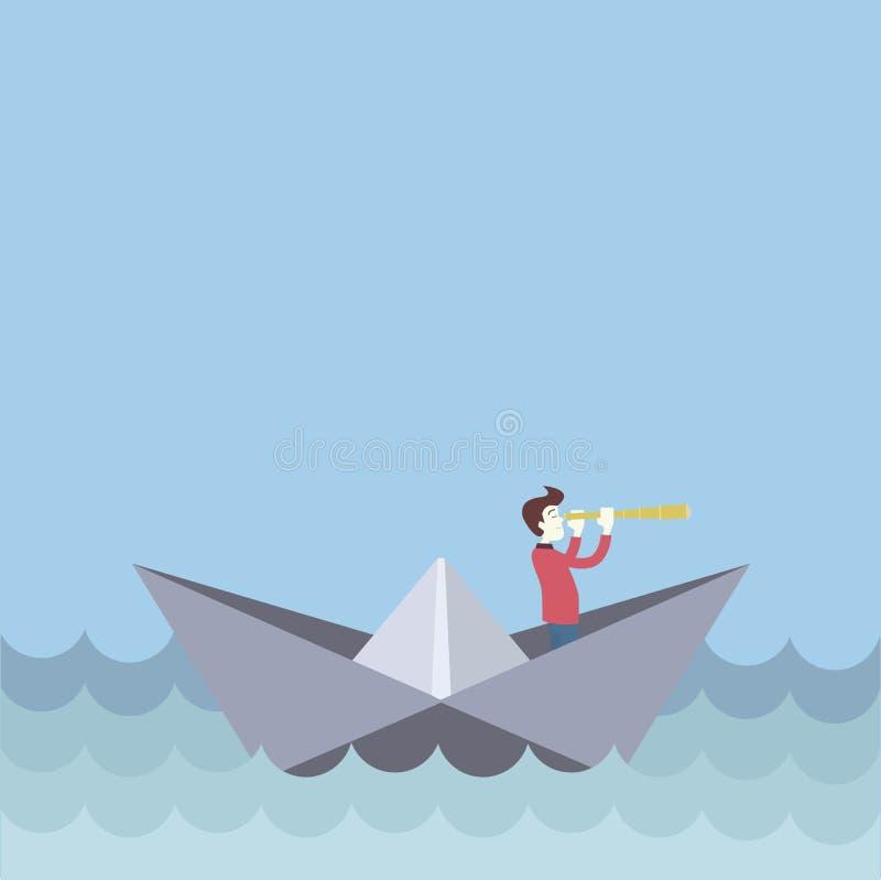 Schiff mit einem Mann vektor abbildung