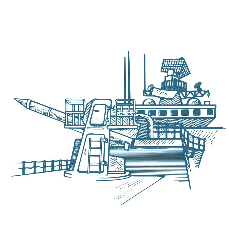 Schiff mit Kernrakete vektor abbildung
