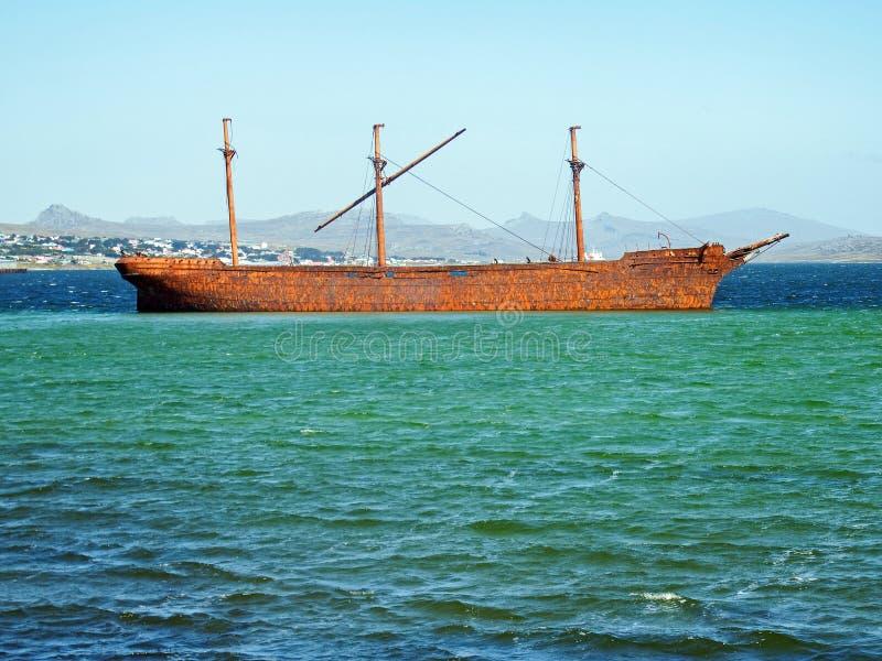 Schiffbruch Dame Elizabeth, Falkland lizenzfreies stockfoto