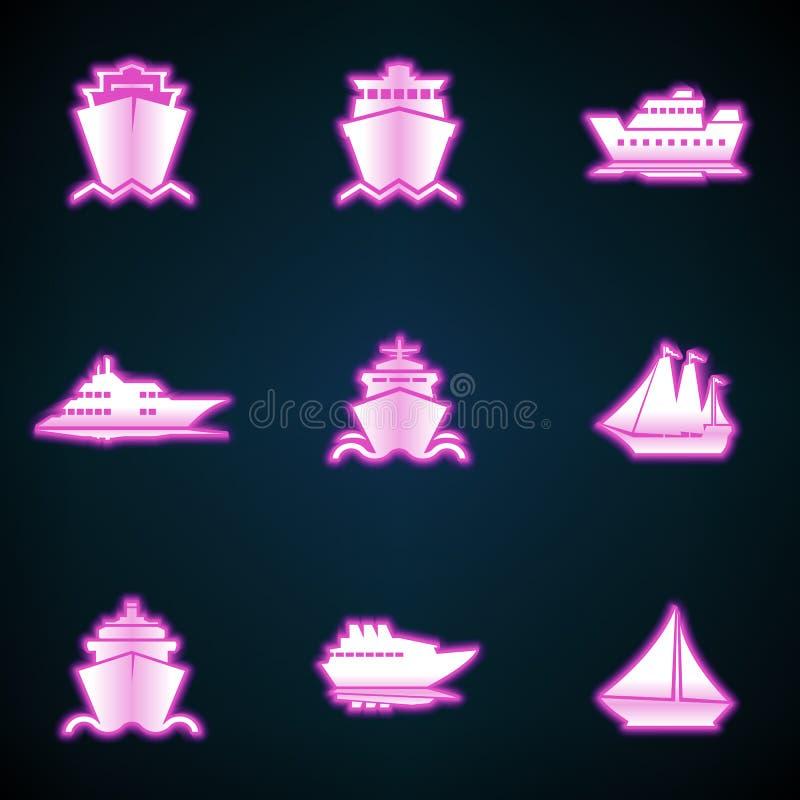 Schiffs-, Boots-, Fracht-, Logistik-, Transport- und Versandikonen, glühende Neon-ui ux Ikone Glühendes Zeichen stock abbildung