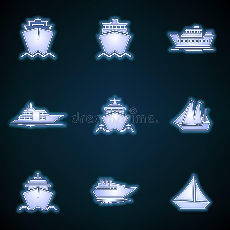 Schiffs-, Boots-, Fracht-, Logistik-, Transport- und Versandikonen Moderne dünne Neonikone des Schiffs auf blauem Hintergrund Glü lizenzfreie abbildung