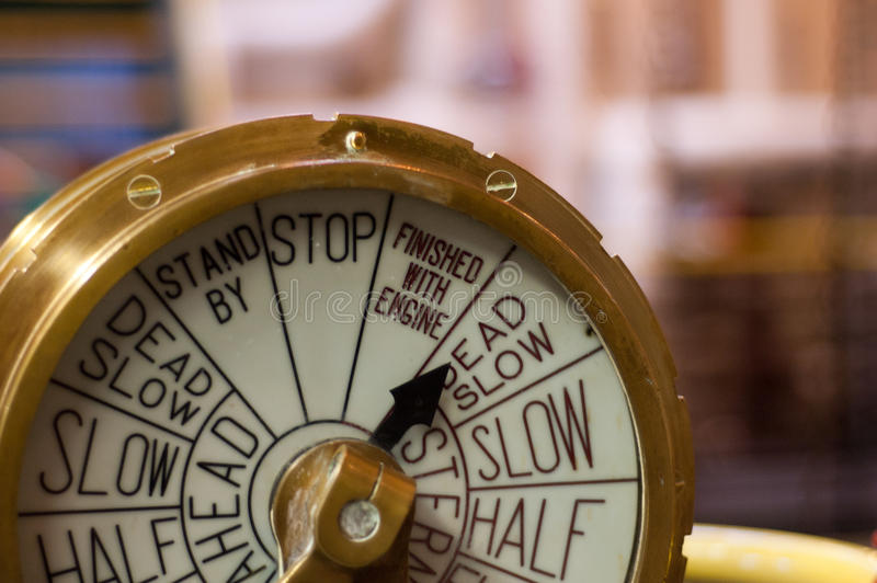 Schiffs-Drossel-Geschwindigkeitsregelungs-Weinlese-Messing stockfoto
