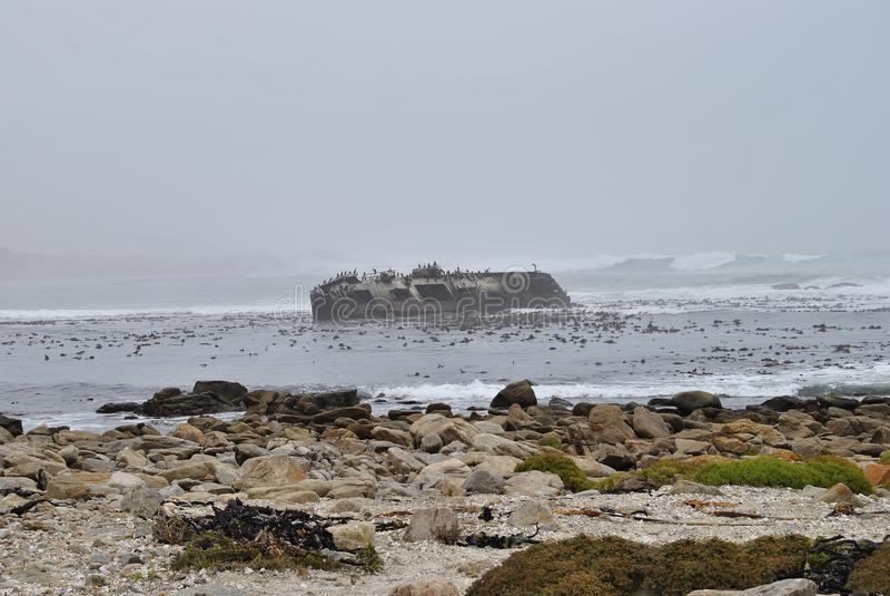 Schiffs-Wrack auf Westcoast Südafrika stockbilder