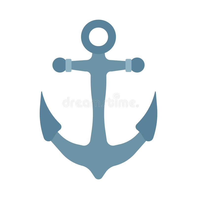 Schiffsankerseeseevektorikone Ozeanwasser-Illustrationsboot Altes Steuerungszeicheneisen-Ausrüstungselement vektor abbildung