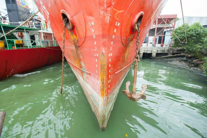 Schiffsbug mit Entwurfsskalanumerierung stockbild