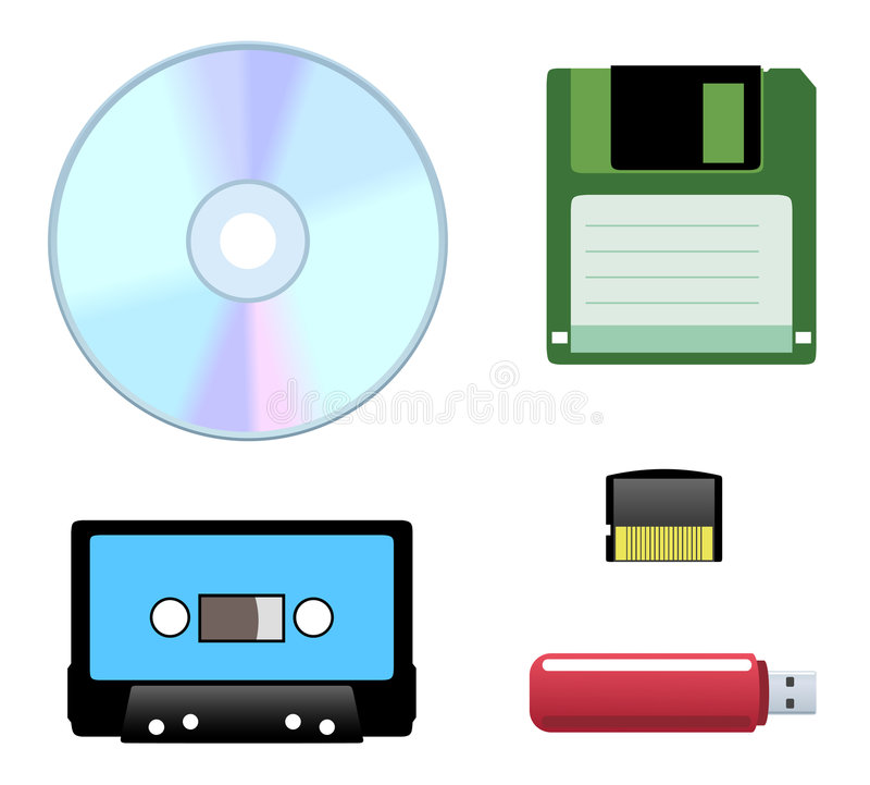 Schijf, diskette, cassettepictogrammen stock illustratie