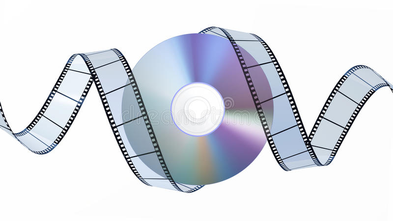 Schijf DVD en filmstrip stock illustratie