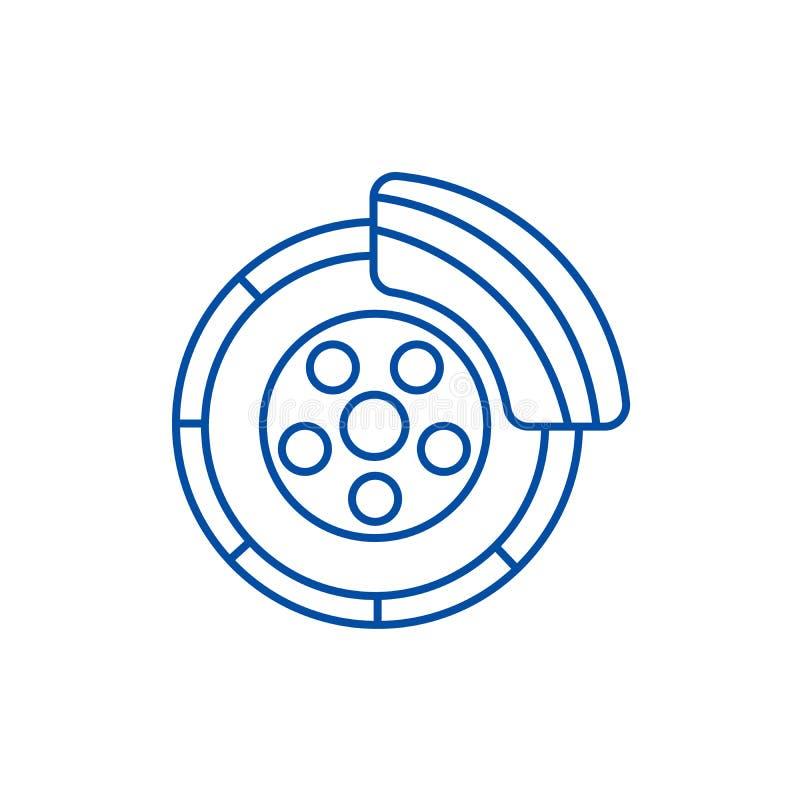 Schijfrem, het concept van het de lijnpictogram van de autodienst Schijfrem, het vlakke vectorsymbool van de autodienst, teken, o stock illustratie