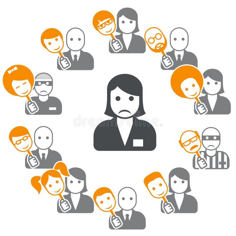 Schijnheiligheid - veinzerij in Internet en sociale netwerken royalty-vrije illustratie