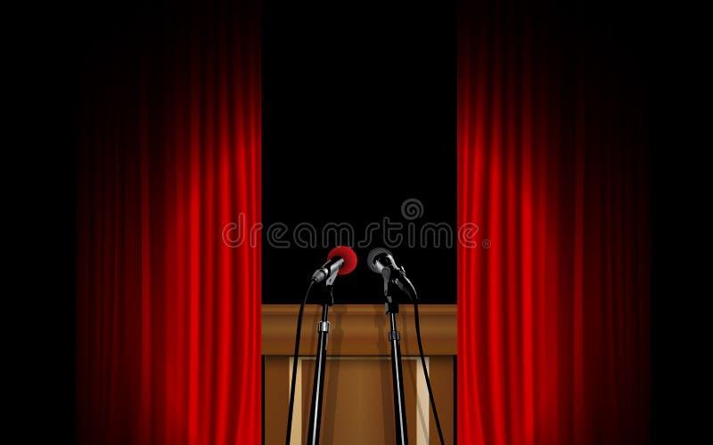 Schijnwerper met podium op het stadium vector illustratie