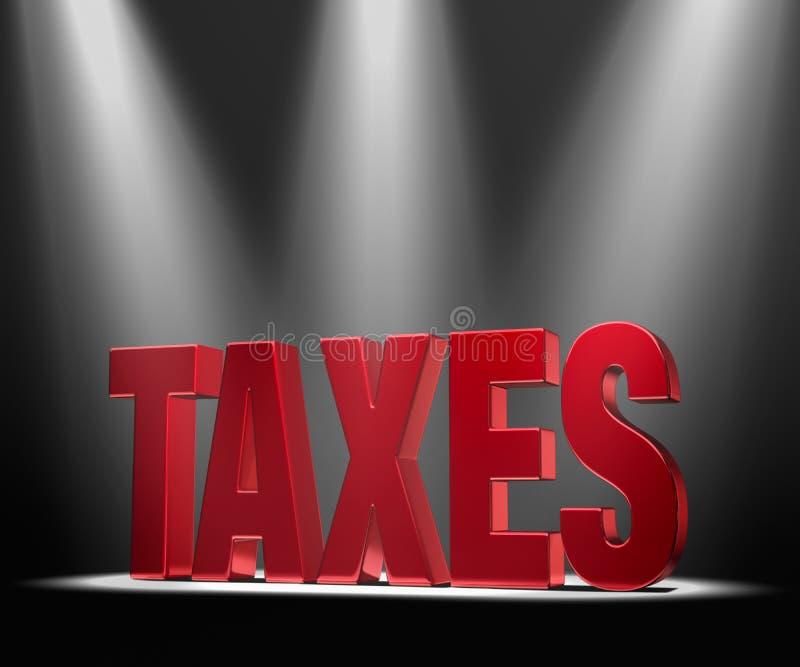 Schijnwerper op Belastingen stock illustratie