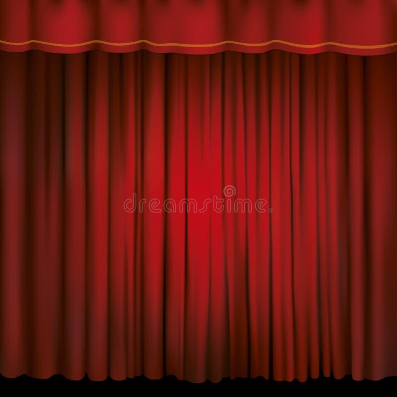 Schijnwerper op een rood stadiumgordijn royalty-vrije illustratie