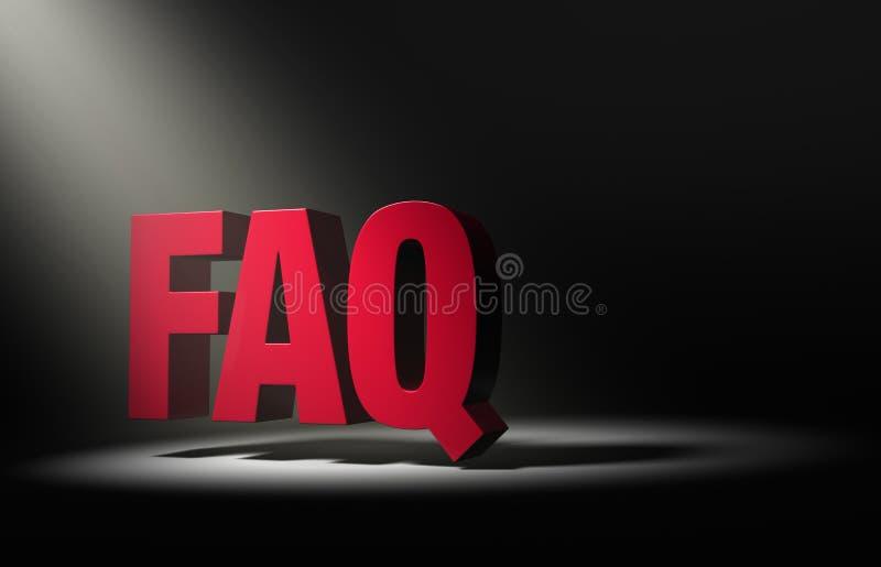Schijnwerper op FAQ vector illustratie