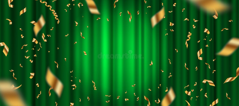 Schijnwerper op groene gordijnachtergrond en dalende gouden confettien royalty-vrije illustratie