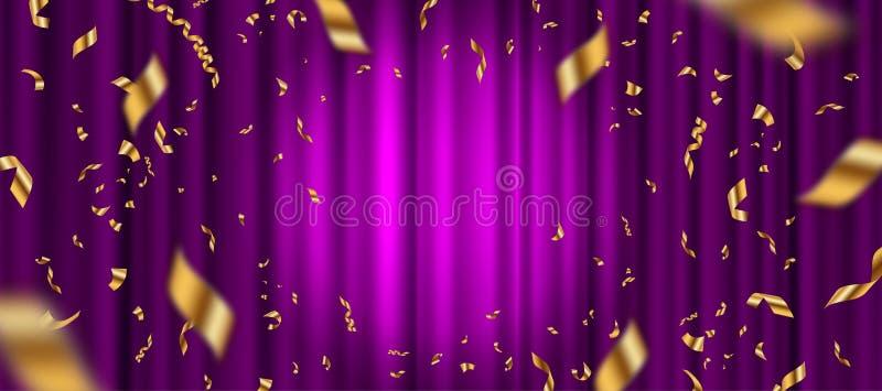 Schijnwerper op purpere gordijnachtergrond en dalende gouden confettien royalty-vrije illustratie