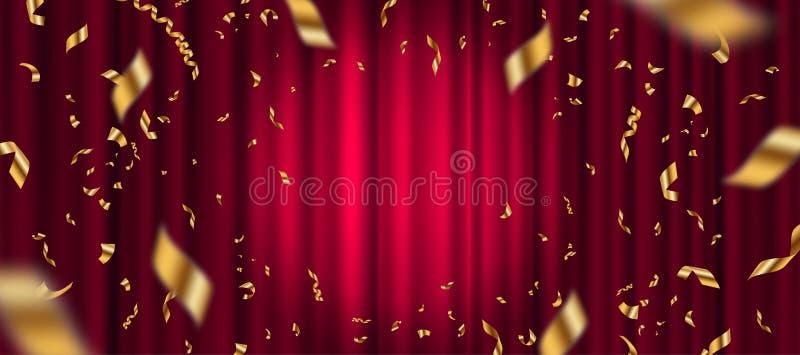 Schijnwerper op rode gordijnachtergrond en dalende gouden confettien vector illustratie