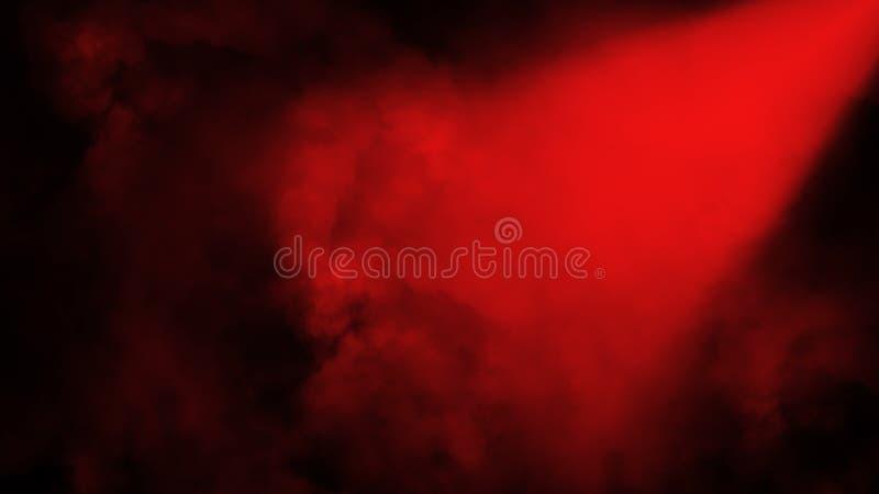 Schijnwerper rood stadium met rook op de vloer Ge?soleerde achtergrond Ontwerptextuur royalty-vrije illustratie