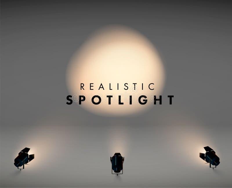 Schijnwerper in vloer 3d realistisch licht in zwarte kleur wijnoogst llustration van projector voor studio video Vector vector illustratie