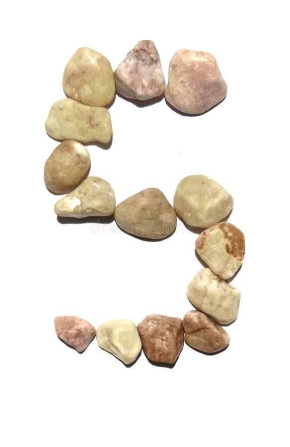 Schik de steen in geïsoleerd nummer vijf stock afbeelding