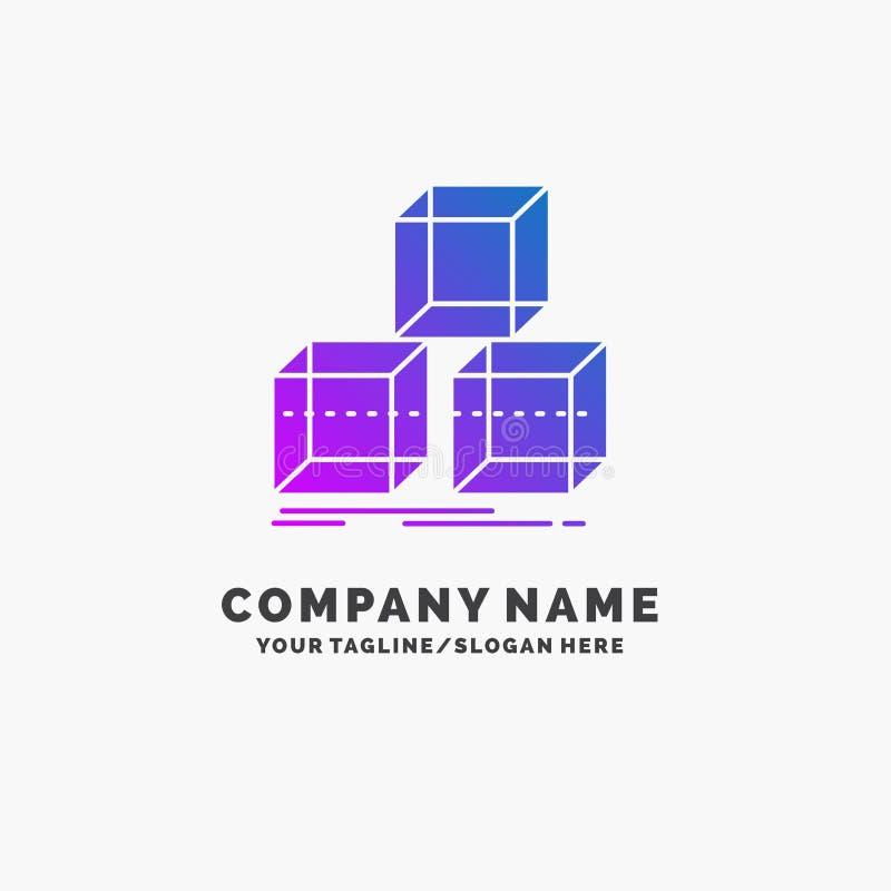 Schik, ontwerp, stapel, 3d, doos Purpere Zaken Logo Template Plaats voor Tagline vector illustratie
