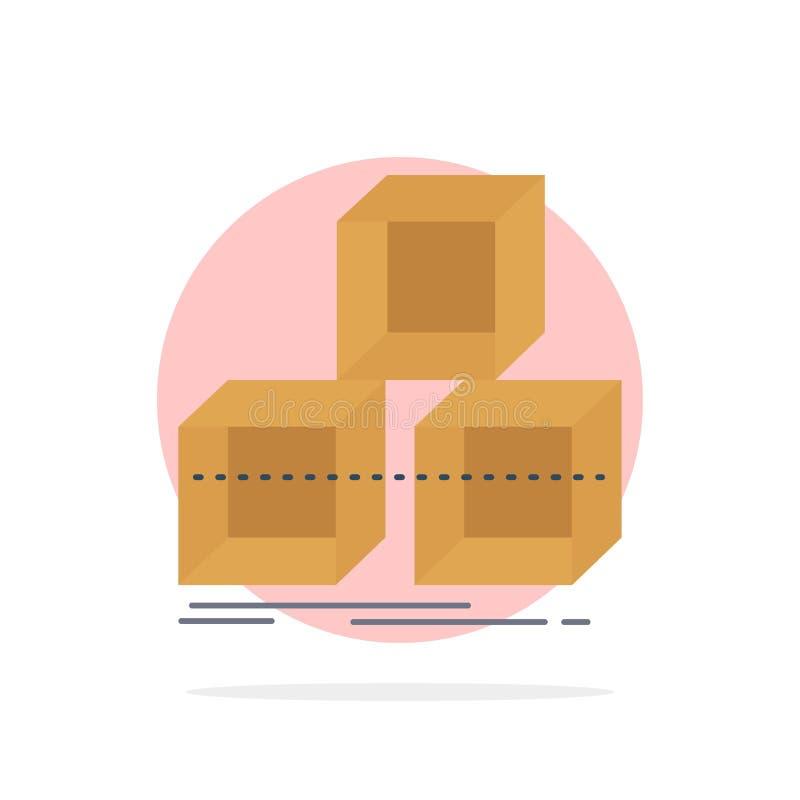 Schik, ontwerp, stapel, 3d, het Pictogramvector van de doos Vlakke Kleur royalty-vrije illustratie