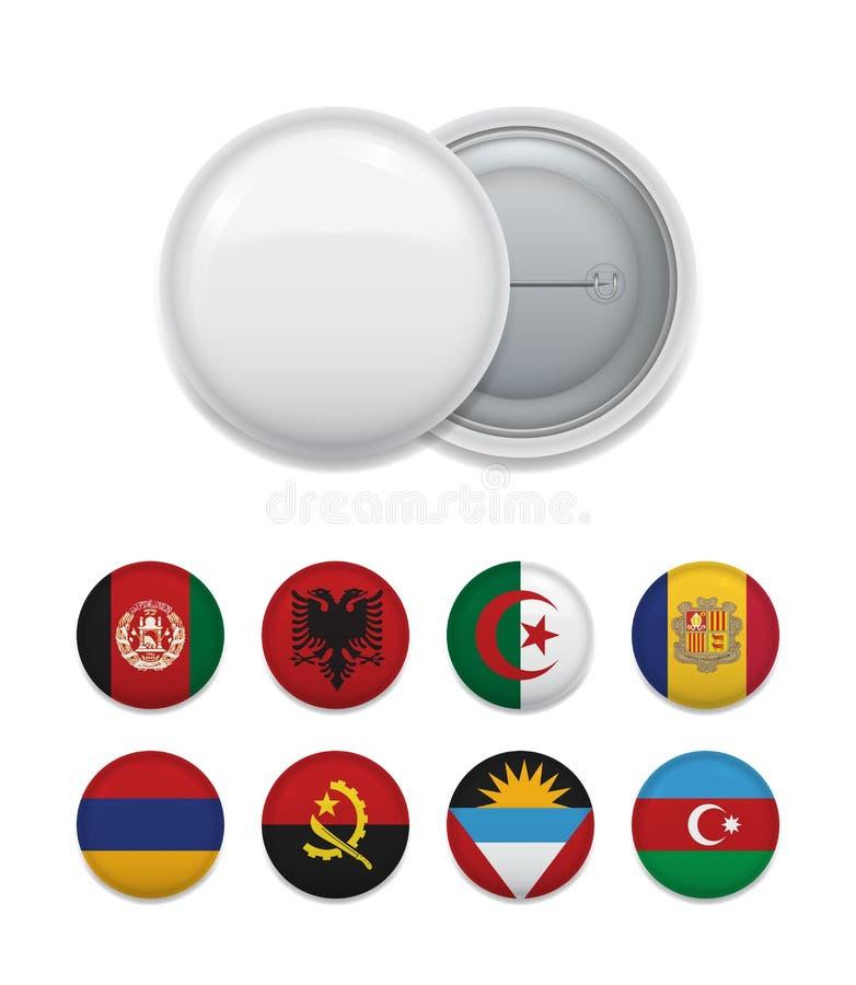 Schik van de vlaggen van het land met kenteken royalty-vrije illustratie