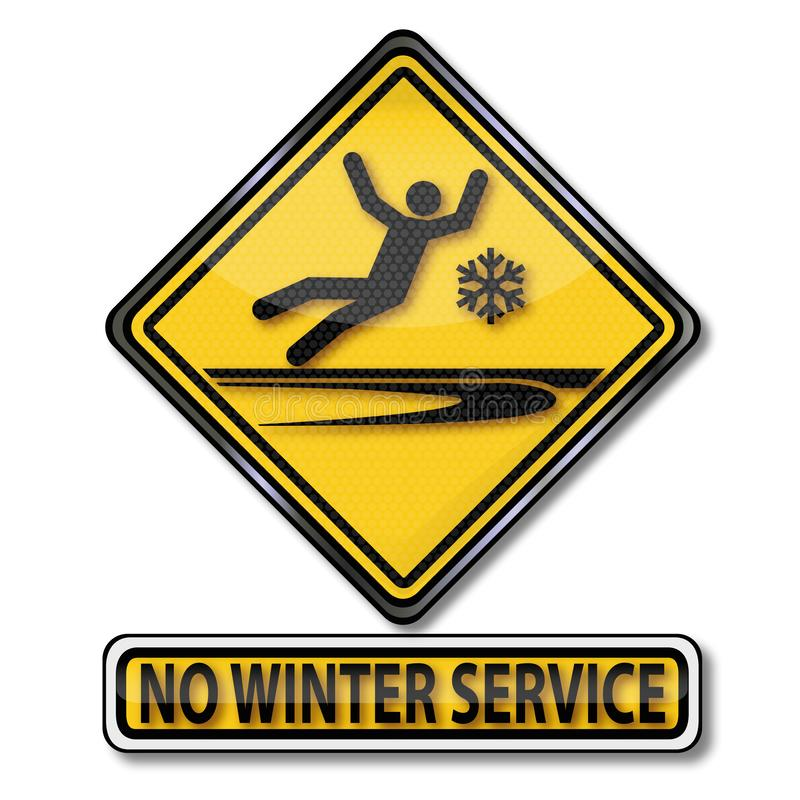 Caution no winter service and slipping vector illustration