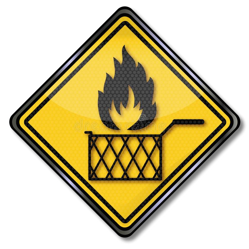 Fire in the deep fryer. Shield with fire in the deep fryer stock illustration