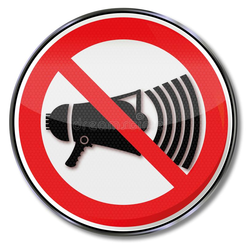 Prohibition sign with megaphone. Prohibition sign for megaphone and noise stock illustration