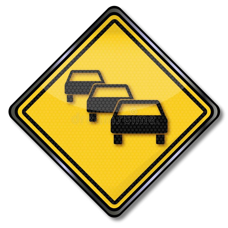 Warning road sign traffic jam and delay. Warning road sign traffic jam, delay and time vector illustration
